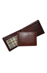 Men's Boconi 'Tyler Slimster' Tumbled Leather Wallet Brown Coffee Green