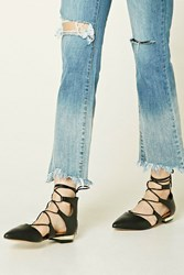 Forever 21 Lace Up Faux Leather Flats Black