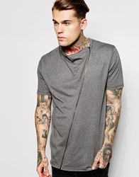 Asos Super Longline T Shirt With Drape Neck And Zip Charcoal