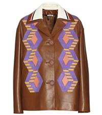 Miu Miu Leather And Suede Jacket Brown
