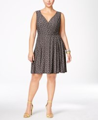 Love Squared Trendy Plus Size Geo Print Fit And Flare Dress Black Stone