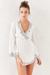 The Jetset Diaries Plunging Bell Sleeve Mini Dress Neutral Multi
