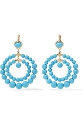 Kenneth Jay Lane Gold Tone Bead Earrings Blue