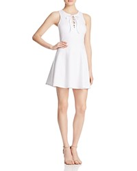 Aqua Ponte Lace Up Dress White