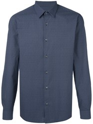 Z Zegna Micro Geometric Pattern Shirt Blue