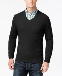 Club Room Big And Tall Diamond Knit Pattern V Neck Sweater Only At Macy's Deep Black