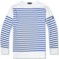 Armor Lux 1140 Long Sleeve Sailor Tee White And Blue