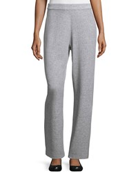 Joan Vass Velour Full Length Jog Pants Heather Gray