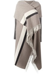 Semicouture Fringed Asymmetric Knit Poncho Nude Neutrals