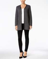 Charter Club Trimmed Cardigan Only At Macy's Charcoal Heather