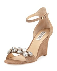 Badgley Mischka Clear Crystal Leather Dressy Sandal Brown