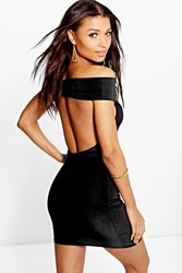 Boohoo Off The Shoulder Low Back Slinky Dress Black