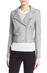 Women's Iro 'Ashville' Lambskin Leather Moto Jacket Light Grey