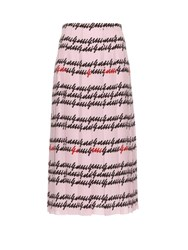 Gucci Iconic Print Pleated Silk Skirt Pink Multi