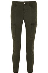 J Brand Houlihan Cropped Stretch Cotton Twill Skinny Pants Army Green