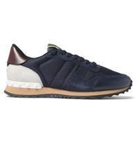 Valentino Leather Suede And Mesh Sneakers Blue