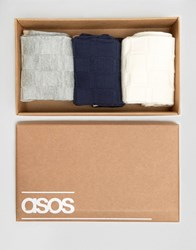 Asos Smart Socks In Gift Box With Grid Texture 3 Pack Multi