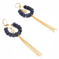 Salome Tribal Collection Fringed Branded Sapphire Earrings