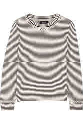 A.P.C. Atelier De Production Et De Creation Flynn Pointelle Trimmed Striped Cotton And Cashmere Blend Sweater Ecru