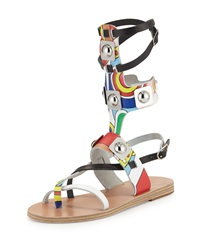 Ancient Greek Sandals Low Multicolor Leather Gladiator Sandal Multi White Natural Black