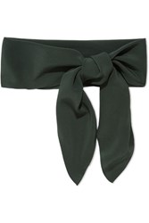 Chloe Silk Crepe De Chine Scarf Forest Green