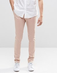Asos Super Skinny Pants In Cotton Sateen In Light Pink Mahogony Rose