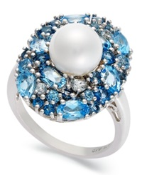 Macy's Sterling Silver Ring Cultured Freshwater Pearl 7 1 2Mm And Blue Topaz Ring 3 5 8 Ct. T.W.
