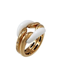 Damiani 18K Yellow Gold And Ceramic Double Band Ring Size 6.5