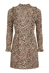 Topshop Petite Animal Ruffle Mini Dress Brown