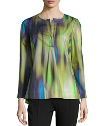 Lafayette 148 New York Kareena Brushstroke Ikat Print Tunic