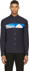 Cnc Costume National Navy Tie Dye Accent Shirt