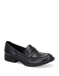 Born Burr Full Grain Leather Penny Loafers Black
