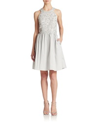 Decode 1.8 Beaded Fit And Flare Dress Silver