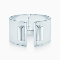 Tiffany And Co. T Bar Hinged Cuff In Sterling Silver Large. No Gemstone