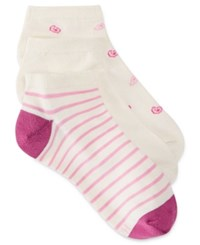 Hanes Women's Comfort Soft Crew Low Cut Socks 3 Pack Pink Stripe