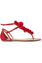 Aquazzura Pompom Embellished Raffia Sandals Red