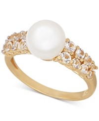 Macy's Freshwater Pearl 8Mm And White Topaz 7 8 Ct. T.W. Ring In 14K Gold Yellow Gold
