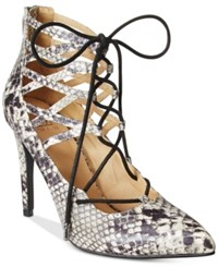 Material Girl Pronto Lace Up Pumps Only At Macy's Women's Shoes Black Snake