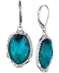 Jones New York Silver Tone Oval Stone Drop Earrings