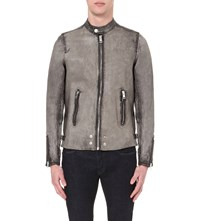 Diesel L Edger Leather Jacket Grey