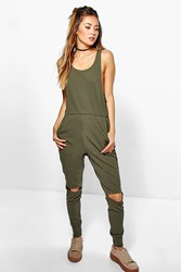 Boohoo Casual Relaxed Fit Jumpsuit Khaki