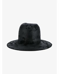 The Viridi Anne Wool Felt Fedora Hat Black Denim