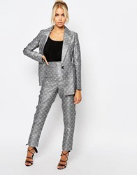 Fashion Union Suit Pants In Tile Print Co Ord Gray