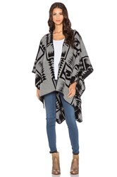 Velvet By Graham And Spencer Camio Wool Poncho Gray