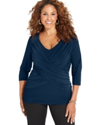 Ny Collection Plus Size B Slim Three Quarter Sleeve Top Navy