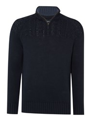 Howick Stow Cable With Zip Funnel Neck Navy