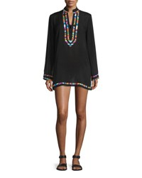 Nanette Lepore Mambo Embroidered Trim Long Sleeve Tunic Coverup Black