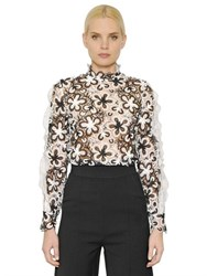Self Portrait Floral Lace Top With Organza Detail