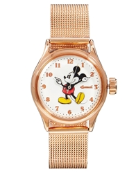 Disney Classic Mickey Mouse Fine Strap Memories Watch Gold