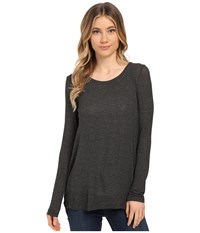 Splendid Drapey Lux Pleat Back Long Sleeve Charcoal Women's T Shirt Gray